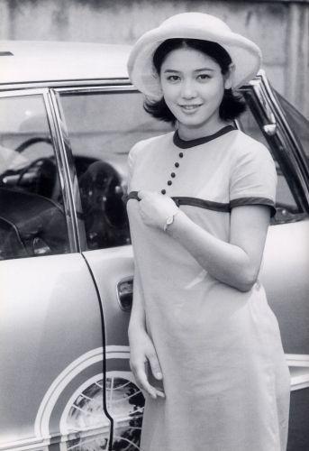 ワンピースを着て車の横に立っているひし美ゆり子の画像