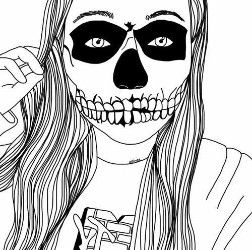 art, noir et blanc, dessiné, dessin, fille, maquillage, squelette, crane