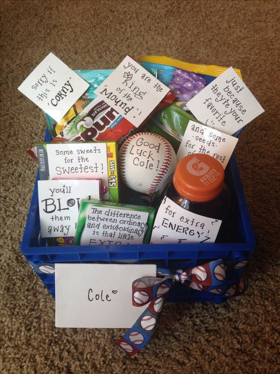 Baseball good luck basket things i love pinterest for Good gift to give your boyfriend