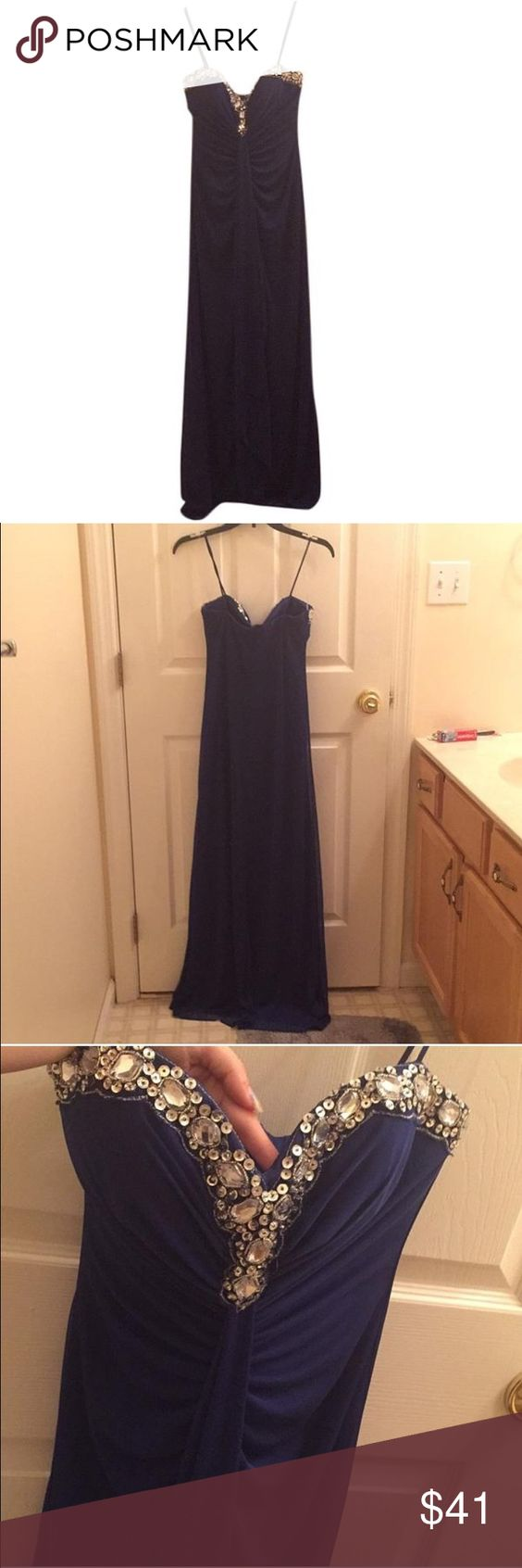 Onyx Nite Dark Blue Formal Gown NWT Size 4 New with tags Onyx Nite dark blue evening gown size 4. Onyx Dresses Prom