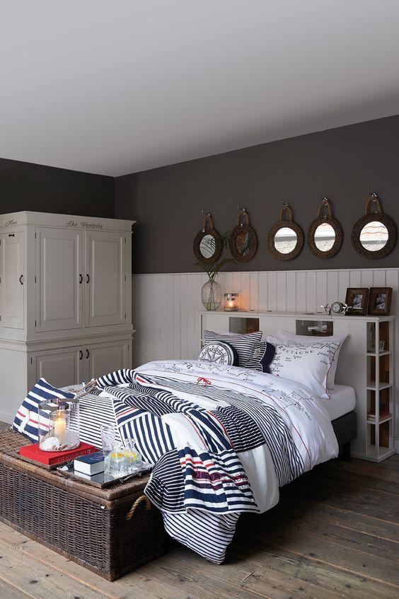 spiegels donkergrijze muren nautisch slaapkamers tiener slaapkamer ...