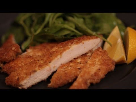 Simple panko & parm chicken fingers.  Season 3 chicken breasts that have been sliced thin into halves (opt- pound to even thickness) w/s&p. Dredge chicken in beaten egg, then in bowl of 1 1/2 C panko, 3/4 C parmesan, & 1 t thyme.  Cook chicken in 2 T olive oil + 2 T butter in large skillet over med high heat until golden brown, ~3-4 min per side. Do not crowd chicken in pan -- do in 2 batches, wiping skillet clean between batches.