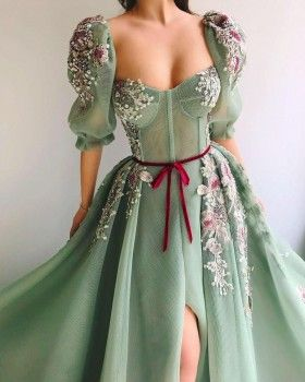 Stars and Gold-shiny Flowers Green Tulle Prom Dress - Lunss