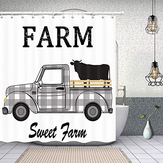 Nymb Rustic Black And White Plaids Farmhouse Cattle Truck Shower