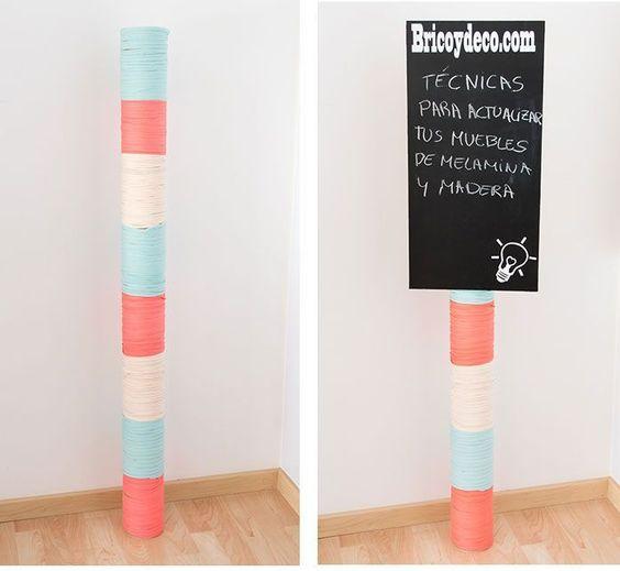 Ideas con Tubos de Cartón: Decora los Tubos de Cartón con un poco de Trapilho y una pizzara: http://blog.cajadecarton.es/que-hacer-con-tubos-de-carton/?utm_source=Pinterest&utm_medium=social&utm_campaign=20160715-quehacer_tuboscarton