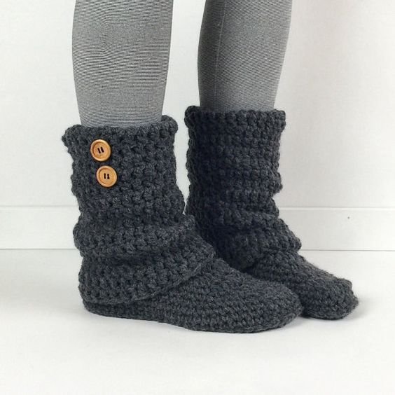 Womens Crochet Dark Gray Slouchy Slipper Boots, Knitted Ladies Slippers,...