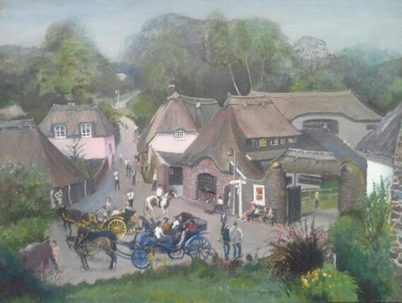 Roger Adams painting of Cockington Forge S, Devon painted in situ 29 7 81 When Charles and Diana married.