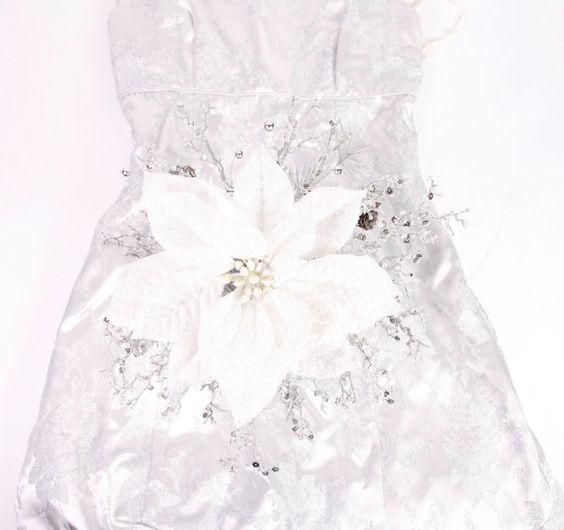Wedding Flowers Winter Bouquet White Poinsettia By LuxuriaBridal 22500