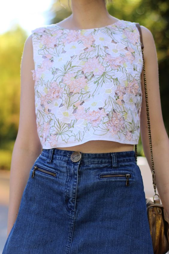 BYCHILL | Chloe Hill wearing Topshop cropped floral embroidered  top