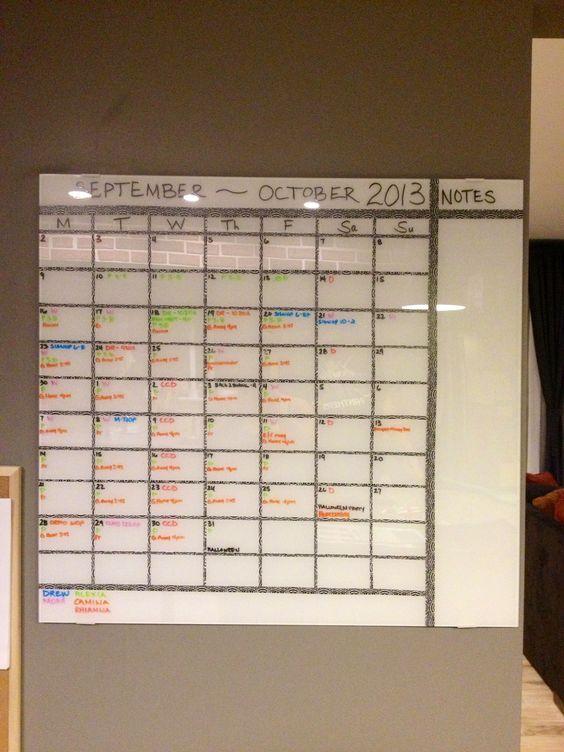Ikea calendar diy 2 month calendar i made with a glass for Ikea kalender