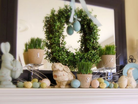 Easter decorations: Easter Idea, Easter Decoration, Mantle Idea, Mantel Idea, Spring Wreath