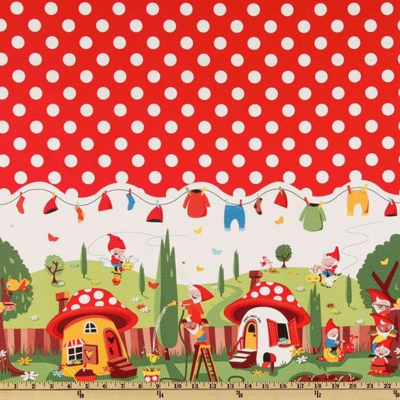 Michael Miller Gnomeville Border Red from @fabricdotcom  From Michael Miller, this cotton print fabric is perfect for quilting, apparel and home decor accents. Colors include red, blue, yellow, brown, orange, white, green and black.