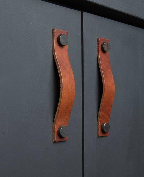 Leather Kitchen Handles Thor Door Handles In Three Colours Leather Kitchen Kitchen Door Handles Rustic Furniture Design
