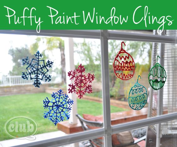 Kids can make these puffy paint window decorations! Christmas snowflakes to brighten up your outlook for the holiday season!