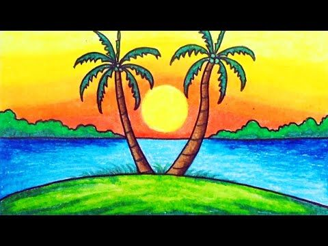 How To Draw Easy Scenery Drawing Sunset Scenery Step By Step With Oil Pastels Youtube Drawing Sunset Easy Nature Drawings Easy Scenery Drawing