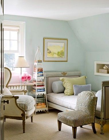 """Relaxing little guest room in Frances Schultz's """"Bee Cottage"""" in East Hampton NY. So charming and sweet, I adore the chez-style couch that can be converted into a bed, and the etagere. Beautiful color palette of sun faded pastels and textural mix up with both velvet and sisal, so appropriate for a summer house."""