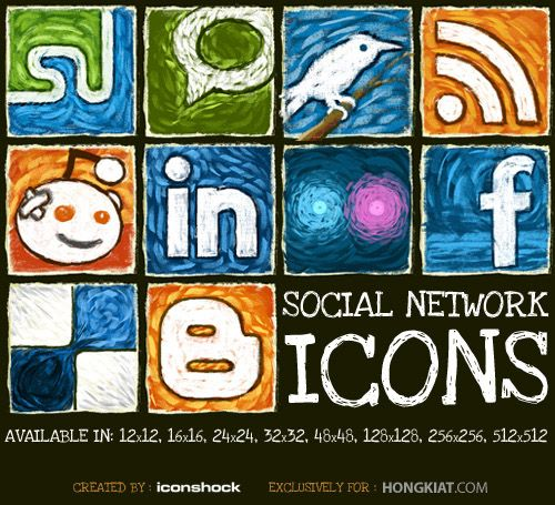 These Iconshock icon set comes in 6 different sizes: 12×12, 16×16, 24×24, 128×128, 256×256 and 512×512 covering social various social network logos like Blogger, Delicious, Facebook, Flickr, Linked-in, Reddit, RSS feed, Stumble Upon, Technorati and Twitter. All icons are free and you can download and use them in either personal or commercial project.