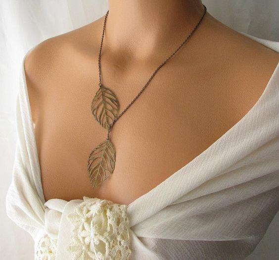 leaf necklace, leaf lariat necklace, leaf jewelry, y necklace, leaf pendant. $24.00, via Etsy.