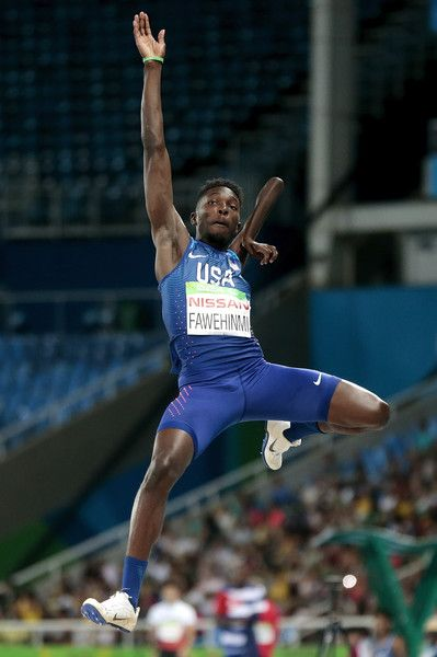Tobi Fawehinmi of United States competes during the Men's Long Jump T47 final at Olympic Stadium on day 7 of the Rio 2016 Paralympic Games at  on September 14, 2016 in Rio de Janeiro, Brazil.