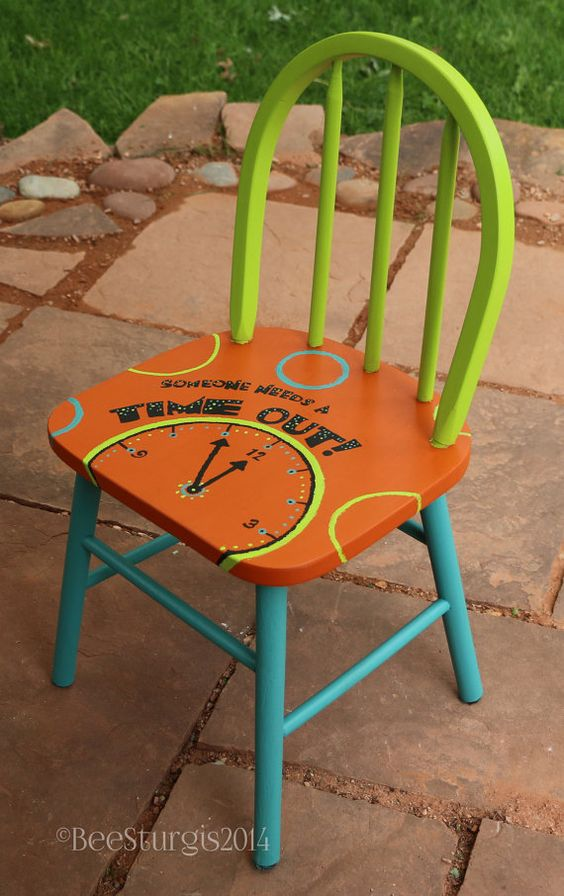 Time out chair hand painted kids wooden by - Paint for childrens furniture ...
