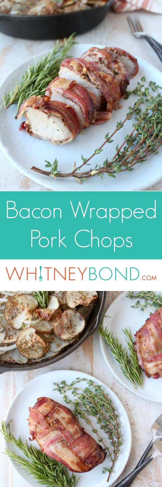 Pork chops are tossed in a balsamic herb marinade, then wrapped in a bacon weave for a delicious & impressive dinner recipe that is so easy to make!