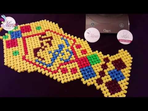 طريقة عمل فانوس رمضان كريم من الخرز مريم عثمان How To Make Beaded Lantern Youtube Bead Work Perler Beads Beads