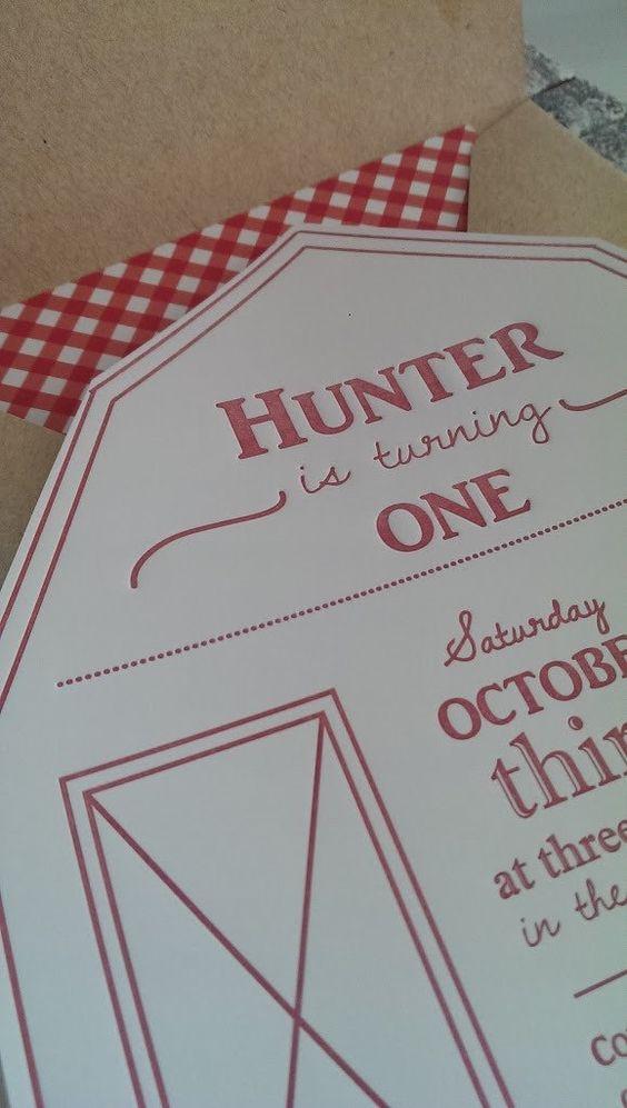 Letterpress First Birthday Party Invitations~ Barn Harvest Farm ...