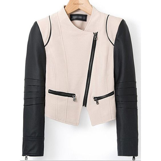 Black Long Sleeve Pink PU Leather Zipper Crop Jacket ($25) ❤ liked on Polyvore featuring outerwear, jackets, pink jacket, black zip jacket, pu leather jacket, black cropped jacket and cropped jacket