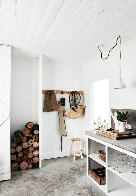 rustic, white and concrete kitchen decor / sfgirlbybay