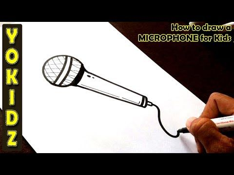 How To Draw A Microphone For Kids Youtube In 2020 Old Microphone Microphone Drawing Draw