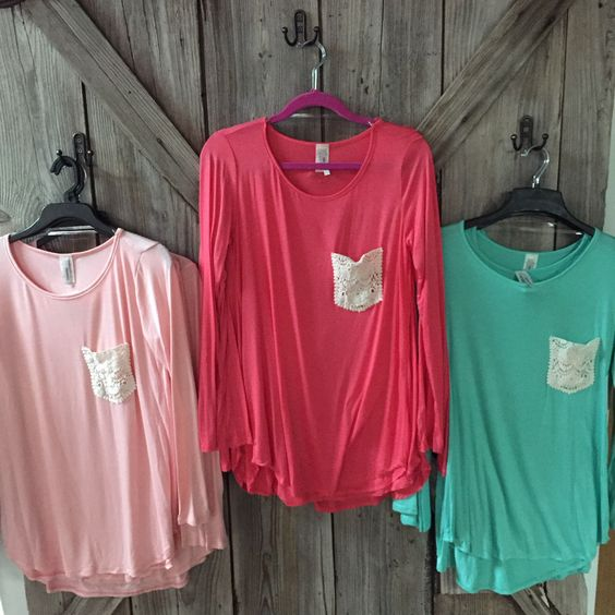 #shopfrontporch Want one in each colot! Lace Pocket tops- Pale Pink, Pink and Mint! Perfect colors for Spring!