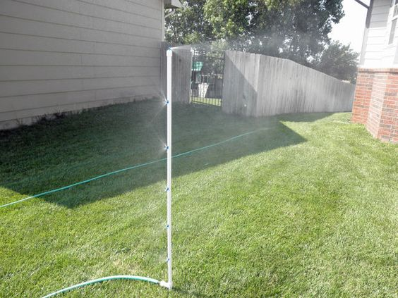 DIY Mistick There are many products available to provide a cooling mist in a fixed area, such as attached to a deck or awning, but what about in the middle of the yard where people are sitting and you don't want to get drenched from a sprinkler?