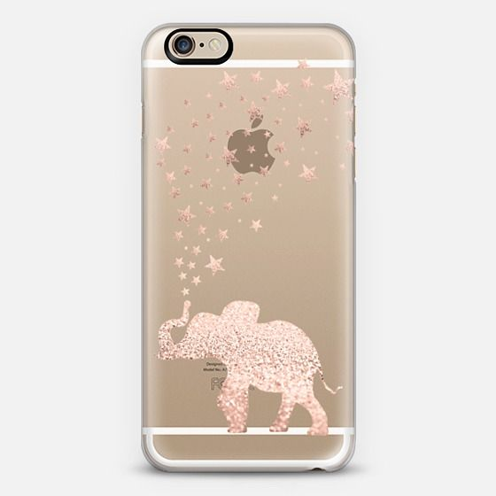 Happy Elephant Rose Gold Iphone Case by Monika Strigel  - Classic Snap Case
