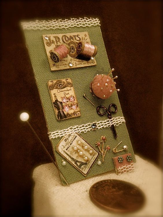Miniature vintage style sewing collection for 1/12th scale doll house on Etsy, $28.50: