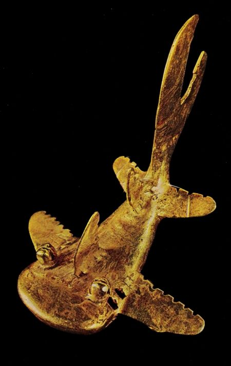 Pre-colombian gold shark from Costa-Rica.  I think this is a whale shark, one of my favorite creatures!: