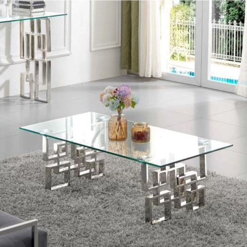 Chrome Glass Coffee Table Stainless Steel Base Modern Luxury