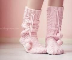 Pink...my favorite color + slipper socks = Perfect