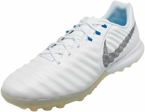 Nike Tiempo Legendx 7 Pro Tf White Metallic Cool Grey Blue Hero Soccerpro Soccer Shoes Football Cleats For Sale Nike
