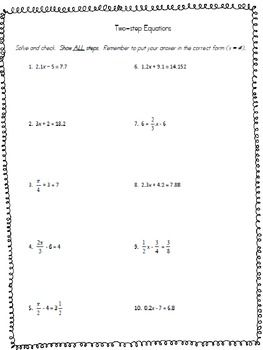 Printables Solving Two Step Equations Worksheet solving two step equations worksheet teaching and math worksheet