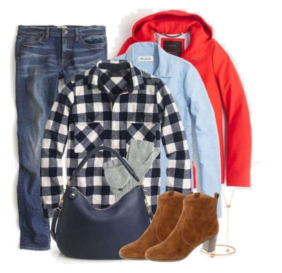 """Buffalo plaid"" by villasba ❤ liked on Polyvore featuring Madewell, J.Crew, women's clothing, women's fashion, women, female, woman, misses and juniors"