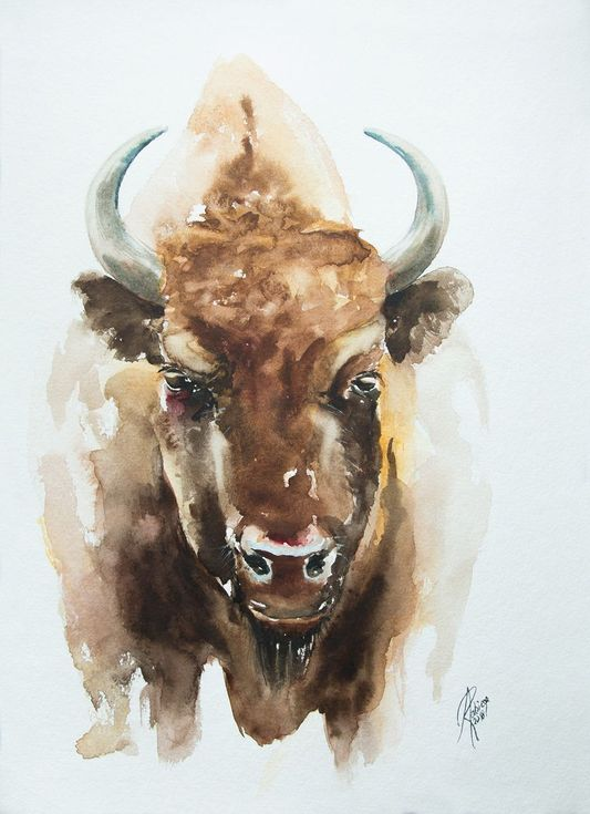 Bison Art Watercolor Animals Lovers Art