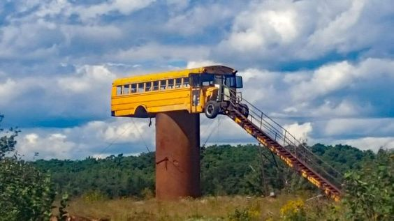 No camo needed as long as your long range shooting is good. #hunting http://www.alloutdoor.com/2016/08/29/deer-hunting-wisconsin-style-school-bus-deer-stand/