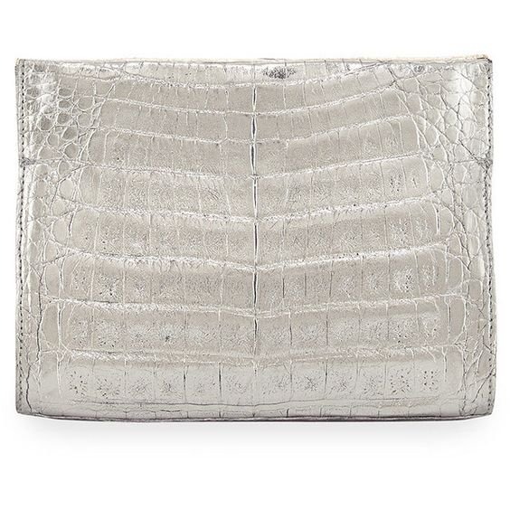 Nancy Gonzalez Crocodile Small Clutch Bag (10.880 NOK) ❤ liked on Polyvore featuring bags, handbags, clutches, rose gold anthrac, croc handbags, croc embossed handbags, croco embossed handbags, nancy gonzalez and nancy gonzalez handbags