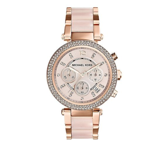 Amazon.com: Michael Kors Mid-Size Rose Goldtone/Stainless Steel Parker Three-Hand Glitz Watch: Clothing
