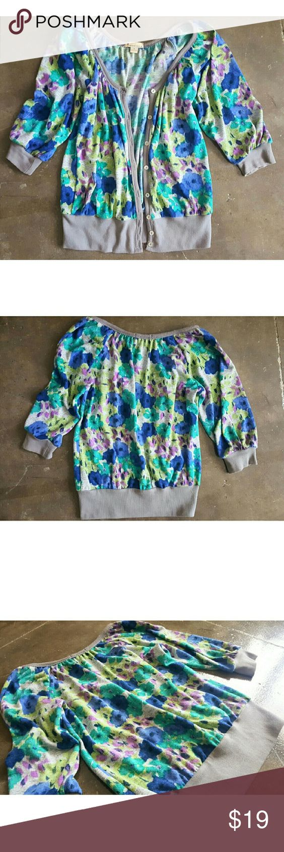 🔥MOVING SALE🔥🆕Watercolor Cardigan🆕 Patches of blues, greens and purples with a gray piping around collar and hem. Front facing irredescent buttons. Pullover slouchy boyfriend style. Meant to hang loose. 3/4 sleeves. Gently worn but in like new condition. No stains, discolorations, etc. 100% cotton. Machine washable! Sweaters Cardigans