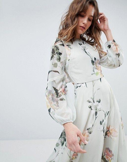 Abiti Eleganti Hope.Hope Ivy Langarmliges Bedrucktes Kleid Mit Spitzenbesatz Und
