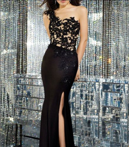 New Long One shoulder Black Applique Evening Ball Gown Formal Prom Party Dresses #fashion style, #Ladies Wear, #clothing, #Dress