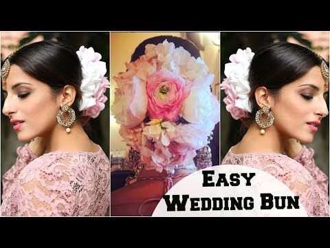 Anushka Sharma Wedding Bun Hairstyle Bridal Look Flower Bun Hairstyle Tutorial For Indian Parties Y In 2020 Hair Bun Tutorial Bridal Hair Indian Bridal Hairstyles