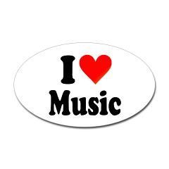I Love Music: Sticker (Oval)