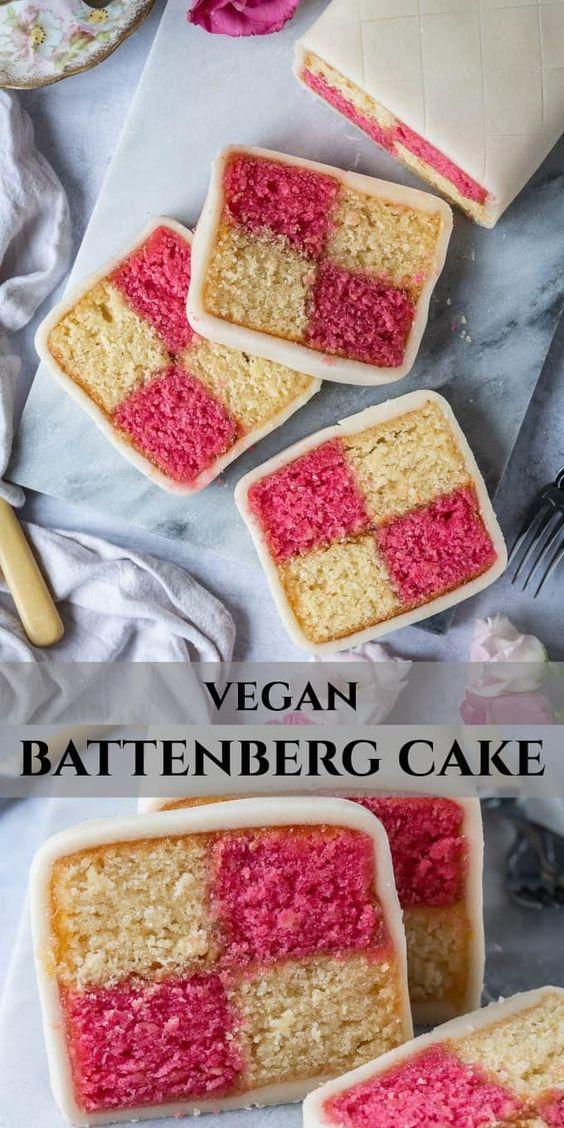 Vegan Battenberg Cake This Vegan Version Of The Classic British Cake Is Just As Good As The Original An In 2020 Vegan Bakery Vegan Dessert Recipes Vegan Cake Recipes